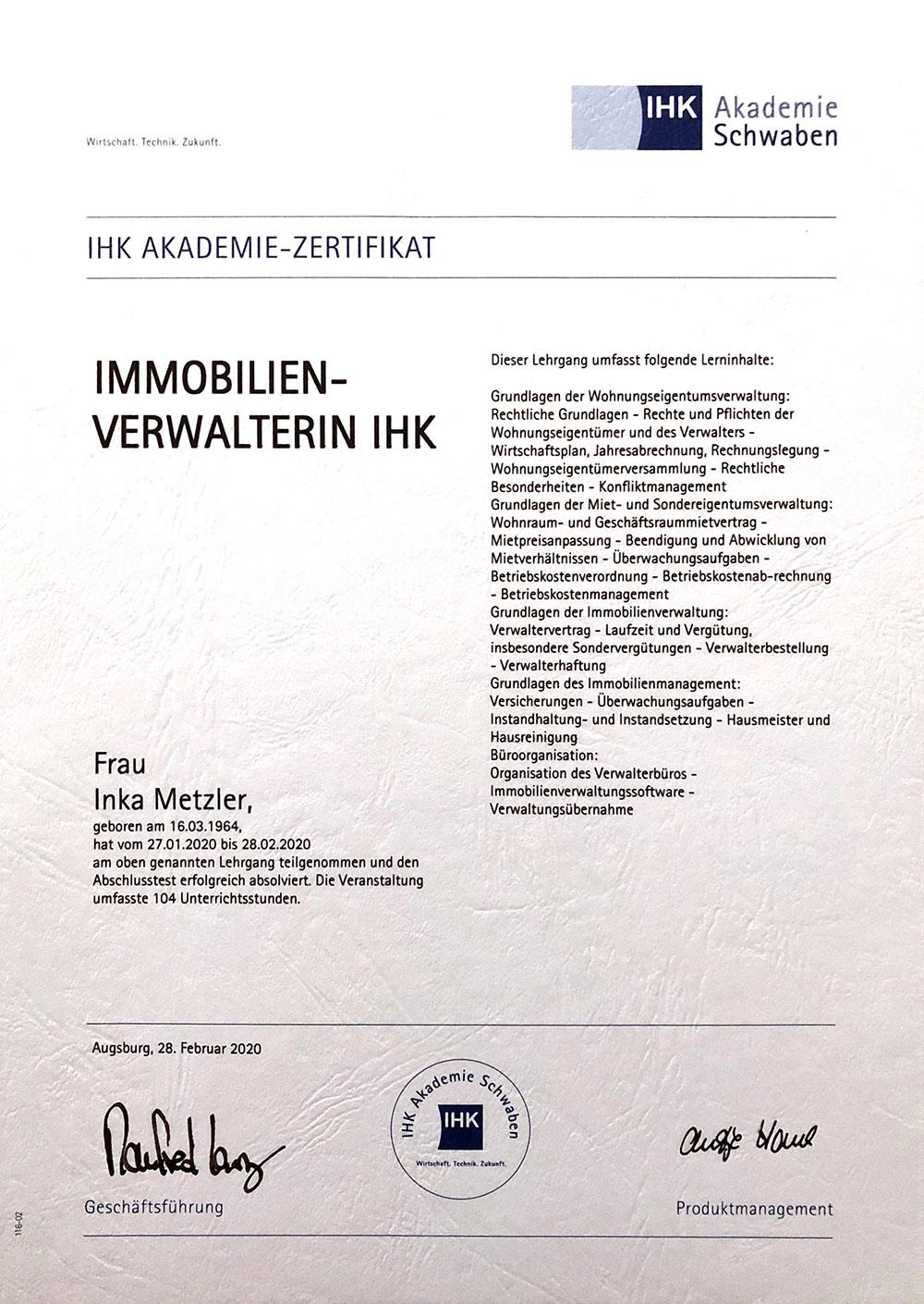 Zertifizierte Immobilienverwalterin (IHK)